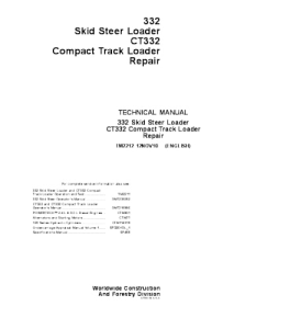 John Deere Skid Steer Loader (332) Compact Track Loader (Ct332) Technical Service Manual Tm2212 | eBooks | Automotive