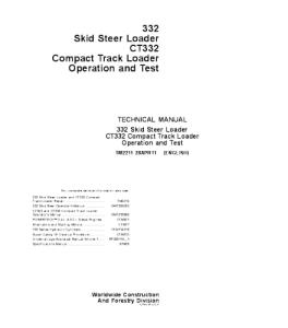 John Deere 332 Ct332 Skid Steer Compact Track Loader Operation And Test Service Manual Tm2211   eBooks   Automotive