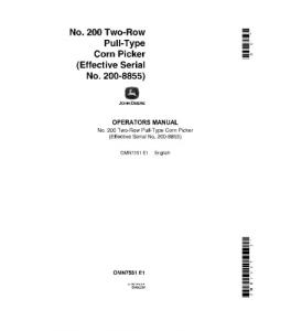 John Deere 200 Two-Row Pull-Type Corn Picker Operator Manual Omn7551 | eBooks | Automotive