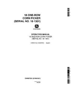 John Deere 18 One Row Corn Picker Operator Manual Omn97554 | eBooks | Automotive