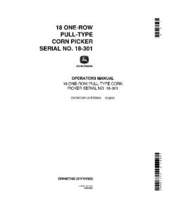 John Deere 18 One Row Pull Type Corn Picker Operator Manual Omn67260 | eBooks | Automotive