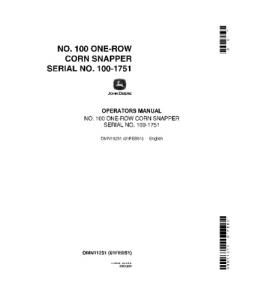 John Deere 100 One Row Corn Snapper Operator Manual Omn11251 | eBooks | Automotive