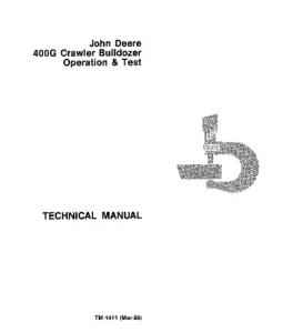 John Deere 400g Crawler Dozer Operation And Test Service Manual Tm1411 | eBooks | Automotive