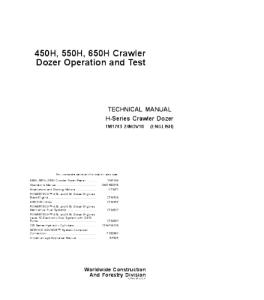John Deere 450h 550h 650h Crawler Dozer Operation And Test Service Manual Tm1743   eBooks   Automotive