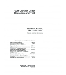 John Deere 700h Crawler Dozer Operation And Test Service Manual Tm1858   eBooks   Automotive