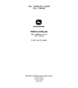 John Deere 700j Crawler Dozer Parts Catalog Manual Pc9473 | eBooks | Automotive