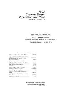 John Deere 700j Crawler Dozer Operation And Test Service Manual Tm10268 | eBooks | Automotive