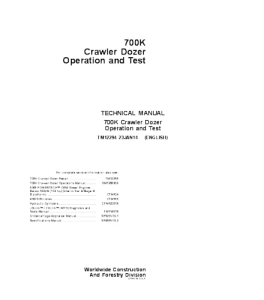 John Deere 700k Crawler Dozer Operation And Test Service Manual Tm12294   eBooks   Automotive