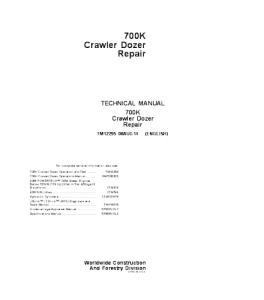 John Deere 700k Crawler Dozer Service Technical Manual Tm12295 | eBooks | Automotive