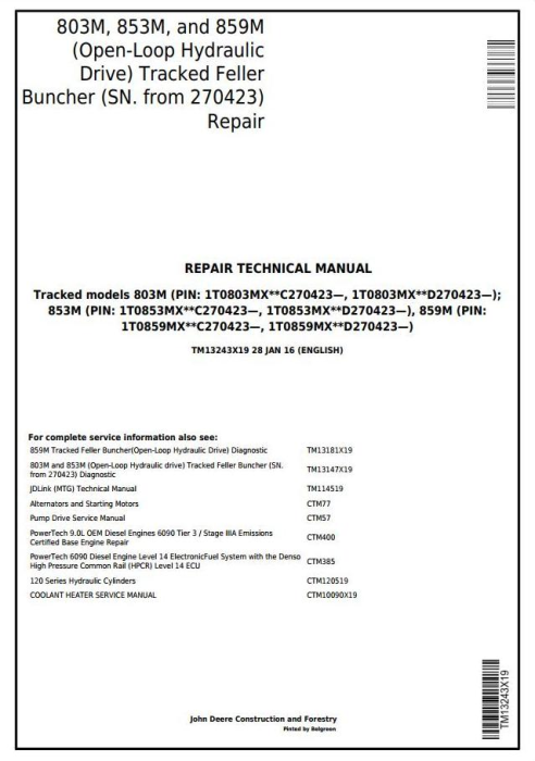 First Additional product image for - John Deere 803M,853M,859M (Open-Loop Hyd.Drv) Feller Buncher (SN.270423-) Repair Manual (TM13243X19)