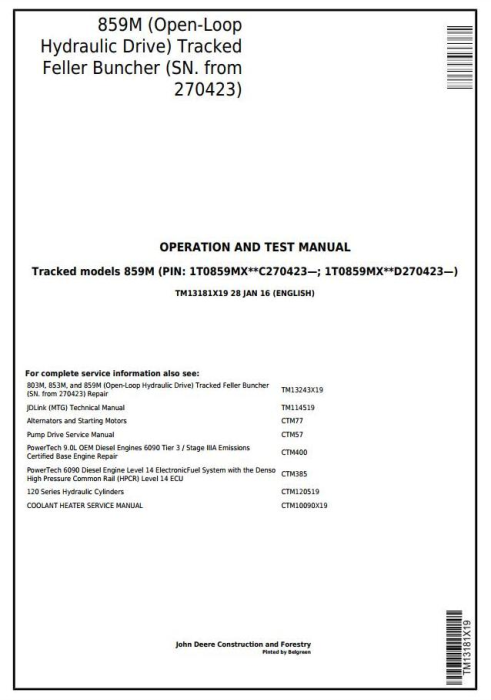 First Additional product image for - John Deere 859M(Open-Loop Hyd.Drv) Feller Buncher (SN.270423-) Diagnostic Service Manual(TM13181X19)
