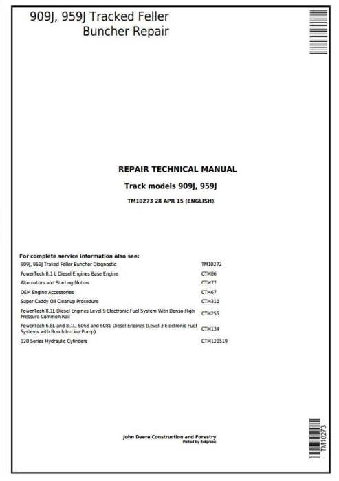 First Additional product image for - John Deere 909J, 959J Tracked Feller Buncher Service Repair Technical Manual (TM10273)