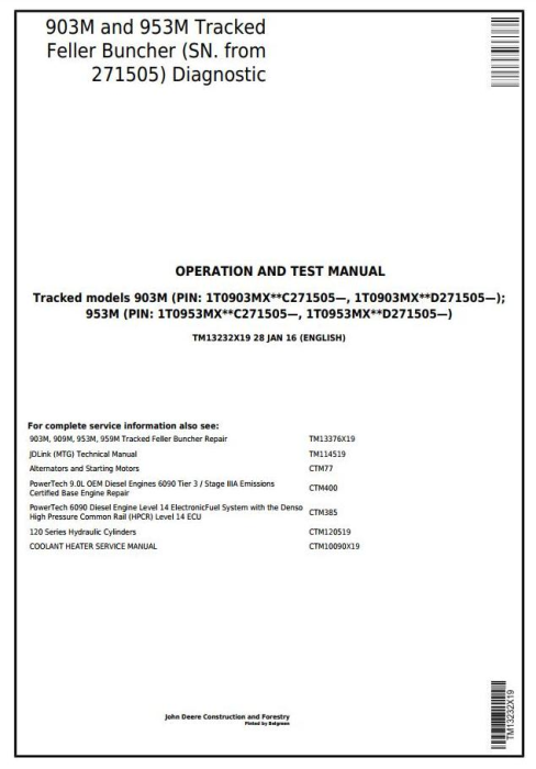 First Additional product image for - John Deere 903M, 953M (SN.271505-)Track Feller Buncher Diagnostic & Test Service Manual (TM13232X19)