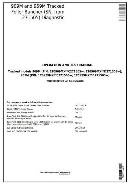 First Additional product image for - John Deere 909M, 959M (SN.271505-)Track Feller Buncher Diagnostic & Test Service Manual (TM13233X19)