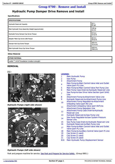 Second Additional product image for - John Deere 903M, 909M, 953M, 959M (SN.271505-)Feller Buncher Service Repair Technical Manual (TM13376X19)