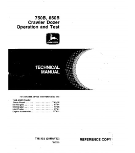 John Deere 750b 850b Crawler Dozer Operation And Test Service Manual Tm1332 | eBooks | Automotive