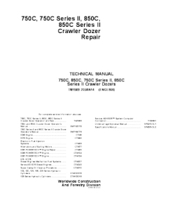 JOHN DEERE 750C 850C SERIES l and ll CRAWLER DOZER SERVICE TECHNICAL MANUAL TM1589 | eBooks | Automotive