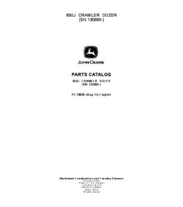 john deere 850j crawler dozer parts catalog manual pc10009
