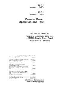 john deere 750j 850j crawler dozer operation and test service manual tm2260