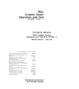 john deere 750j crawler dozer operation and test service manual tm10293