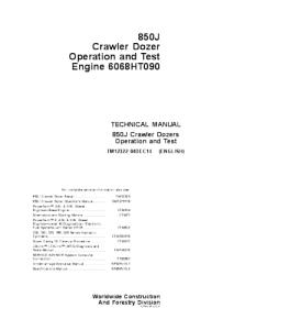 john deere 850j crawler dozer operation and test service manual tm12322