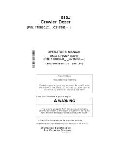 john deere 850j crawler dozer operator manual omt275118