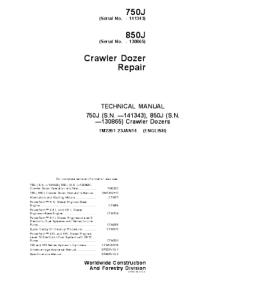 john deere 750j 850j crawler dozer service technical manual tm2261