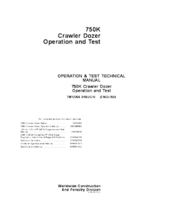 john deere 750k crawler dozer operation and test service manual tm12266