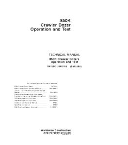 john deere 850k crawler dozer operation and test technical manual tm12043