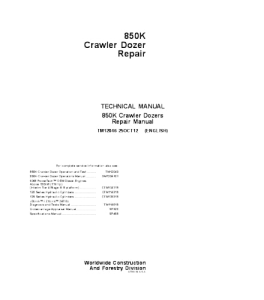 john deere 850k crawler dozer service technical manual tm12046