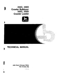 john deere 350c 350d 355d crawler loader bulldozer service technical manual tm1115