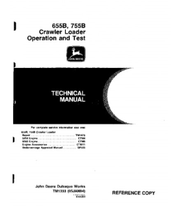 john deere 655b 755b crawler loader operation and test service manual tm1333