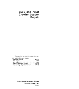 john deere 655b 755b crawler loader service technical manual tm1478