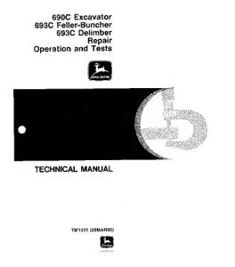 john deere 690c 693c excavator feller buncher service technical manual tm1323
