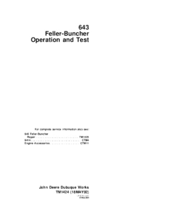 john deere 643 feller buncher operation and test service manual tm1424