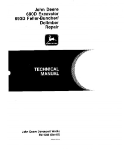 john deere 690d 693d excavator feller buncher delimber service technical manual tm1388