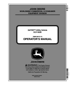 john deere xuv 855d gator™ utility vehicle operator manual omm158412