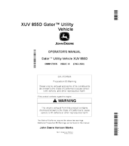 john deere xuv 855d gator™ utility vehicle operator manual omm173976