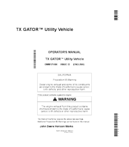 john deere tx gator™ utility vehicle operator manual omm171484