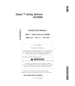 john deere xuv 550 gator™ utility vehicle operator manual omm171246