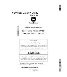 JOHN DEERE XUV 625i GATOR™ UTILITY VEHICLE OPERATOR MANUAL OMM175150 | eBooks | Automotive
