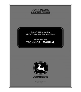 john deere  hpx 4x2 & 4x4 gas and diesel gator utility vehicle technical service manual tm2195