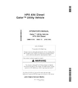 John Deere Hpx 4x4 Diesel Gator™ Utility Vehicle Operator Manual Omm171245 | eBooks | Automotive