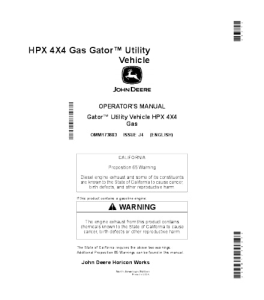 John Deere Hpx 4x4 Gas Gator™ Utility Vehicle Operator Manual Omm173803 | eBooks | Automotive