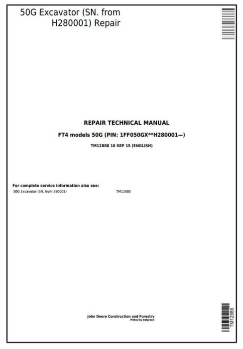 First Additional product image for - John Deere 50G (SN. from H280001) Compact Excavator Service Repair Technical Manual (TM12888)