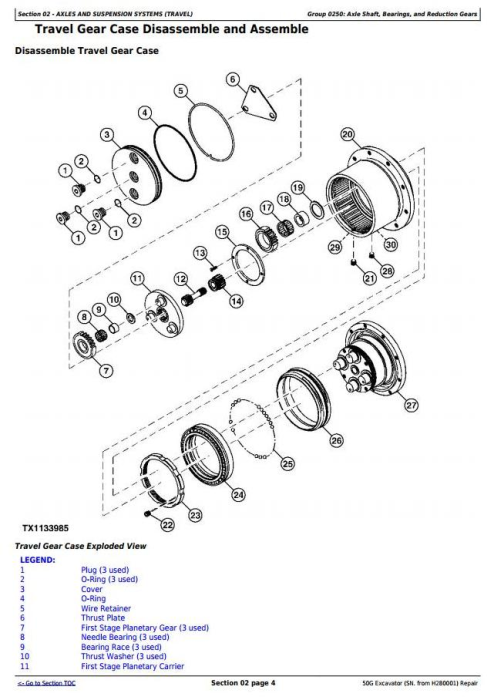 Second Additional product image for - John Deere 50G (SN. from H280001) Compact Excavator Service Repair Technical Manual (TM12888)
