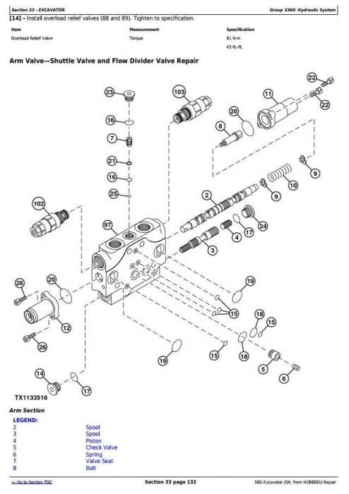 Fourth Additional product image for - John Deere 50G (SN. from H280001) Compact Excavator Service Repair Technical Manual (TM12888)