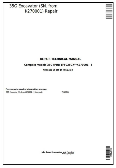 First Additional product image for - John Deere 35G  (SN. from K270001) Compact Excavator Service Repair Technical Manual (TM12894)