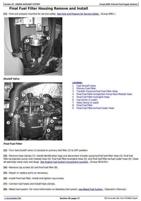 Third Additional product image for - John Deere 35G  (SN. from K270001) Compact Excavator Service Repair Technical Manual (TM12894)