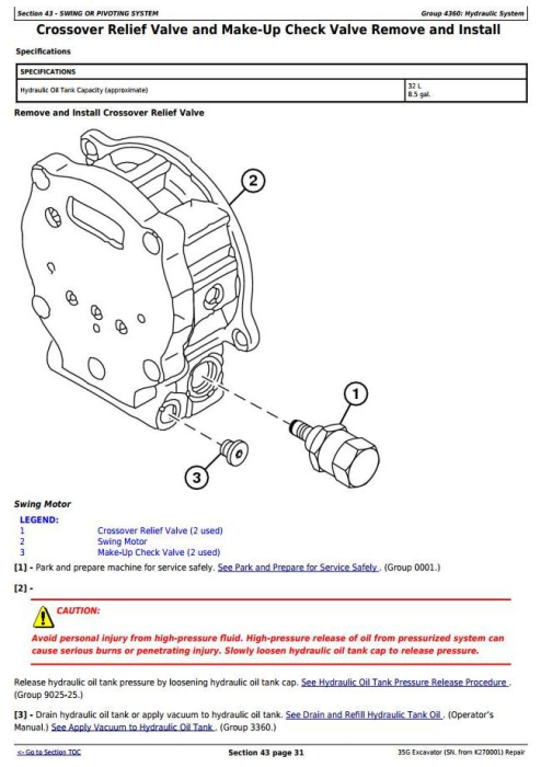 Fourth Additional product image for - John Deere 35G  (SN. from K270001) Compact Excavator Service Repair Technical Manual (TM12894)